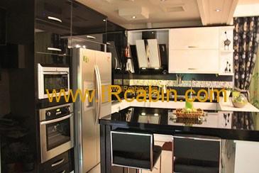 کابینت آشپزخانه های گلاس سیاه و سفید